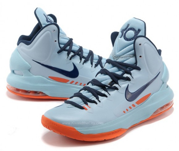 Nike KD 5 Ice Blue Sneakers (Ice Blue/Squadron Blue-Total Orange)