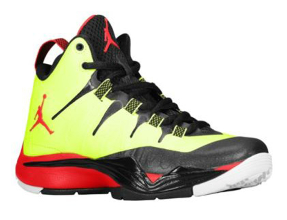 Kids Air Jordan Super Fly 2 Volt Fire Red Black White Shoes
