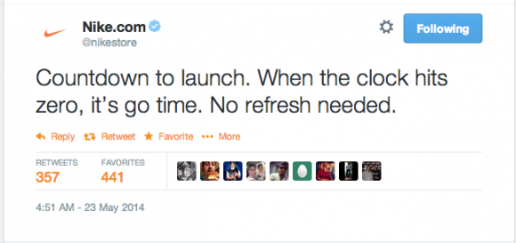 NikeStore Implements Countdown Timer + Twitter Reacts