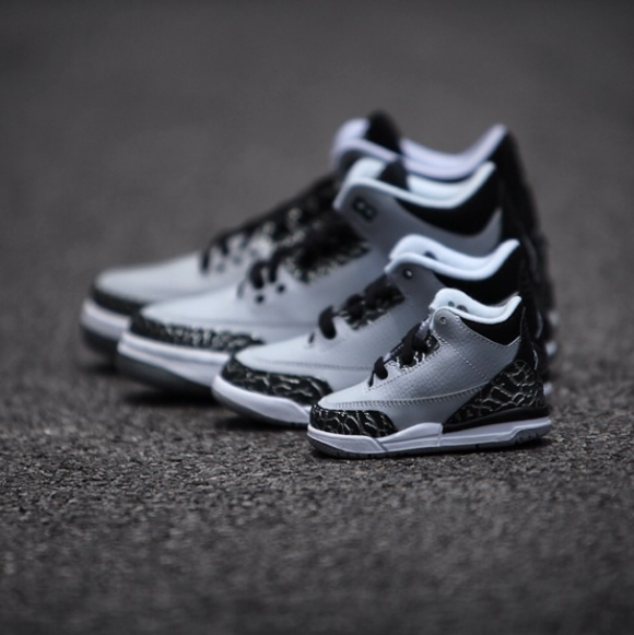 air jordan 3 retro wolf grey family pack detailed look. Black Bedroom Furniture Sets. Home Design Ideas