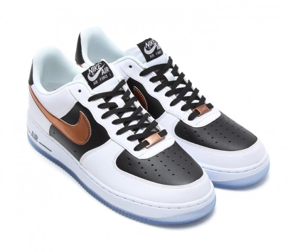 Nike Air Force 1 Bajo Blanco / Cobre / Negro QIuHKr1