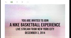 Nike Live Stream on December 3rd