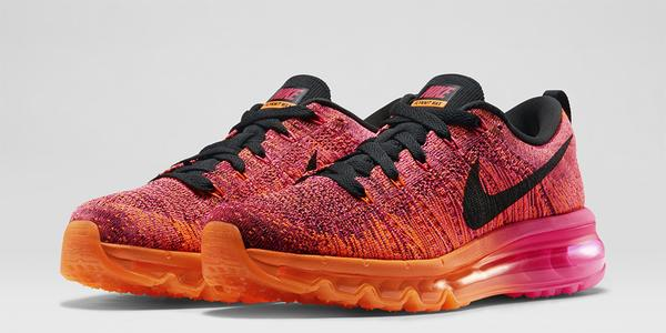 womens nike flynit air max orange purple