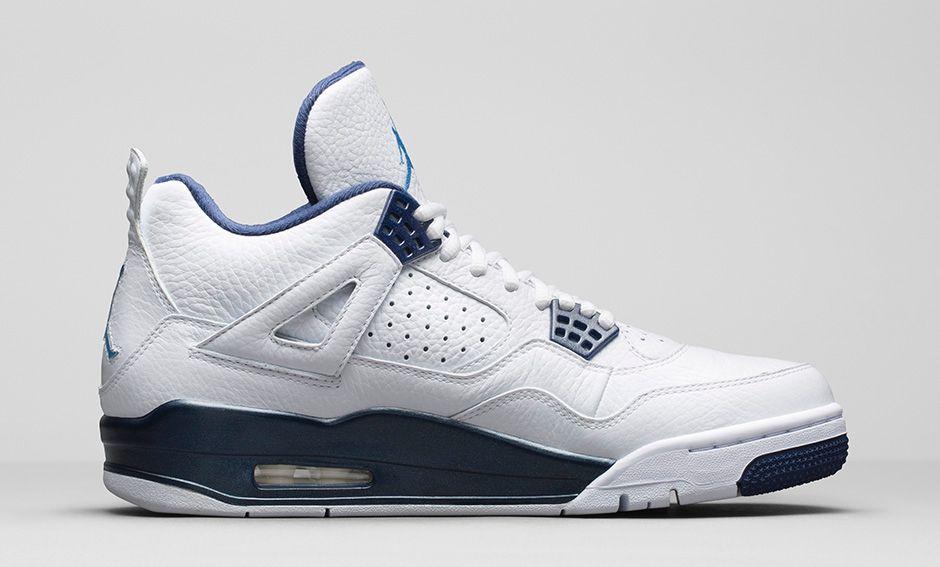 Air Jordan 4 Retro Bleu Et Blanc Solide