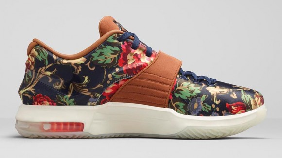uk availability 1c594 fa4fd KD 7 EXT  Floral  - Release Information-5 .. nike kd 7 calm before the storm  footlocker ...