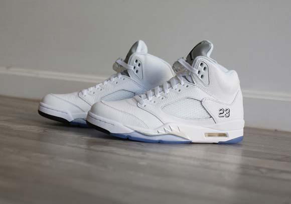 Air Jordan Retro 5 White Metallic