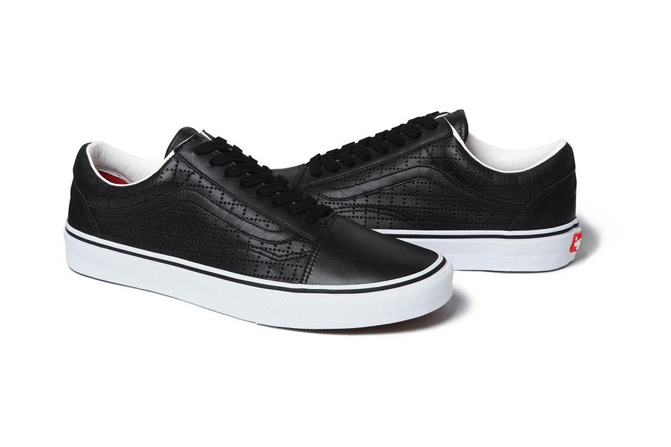 vans old skool leather perf trainers in black
