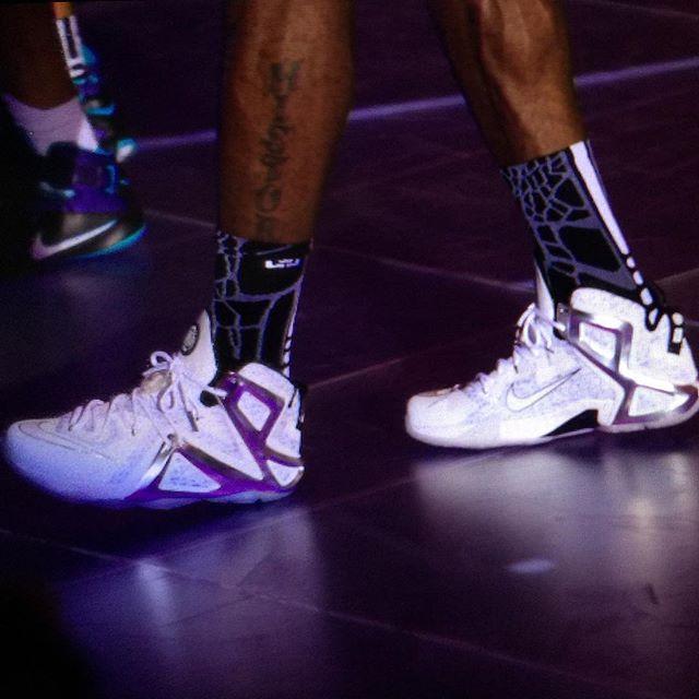 LeBron rocking the Nike LeBron 12 Elite Pigalle up close