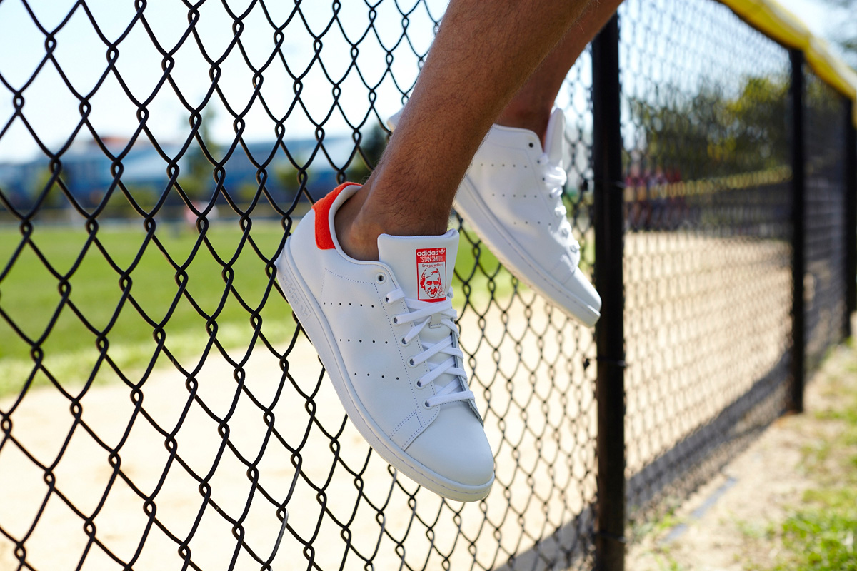 adidas stan smith white and solar red