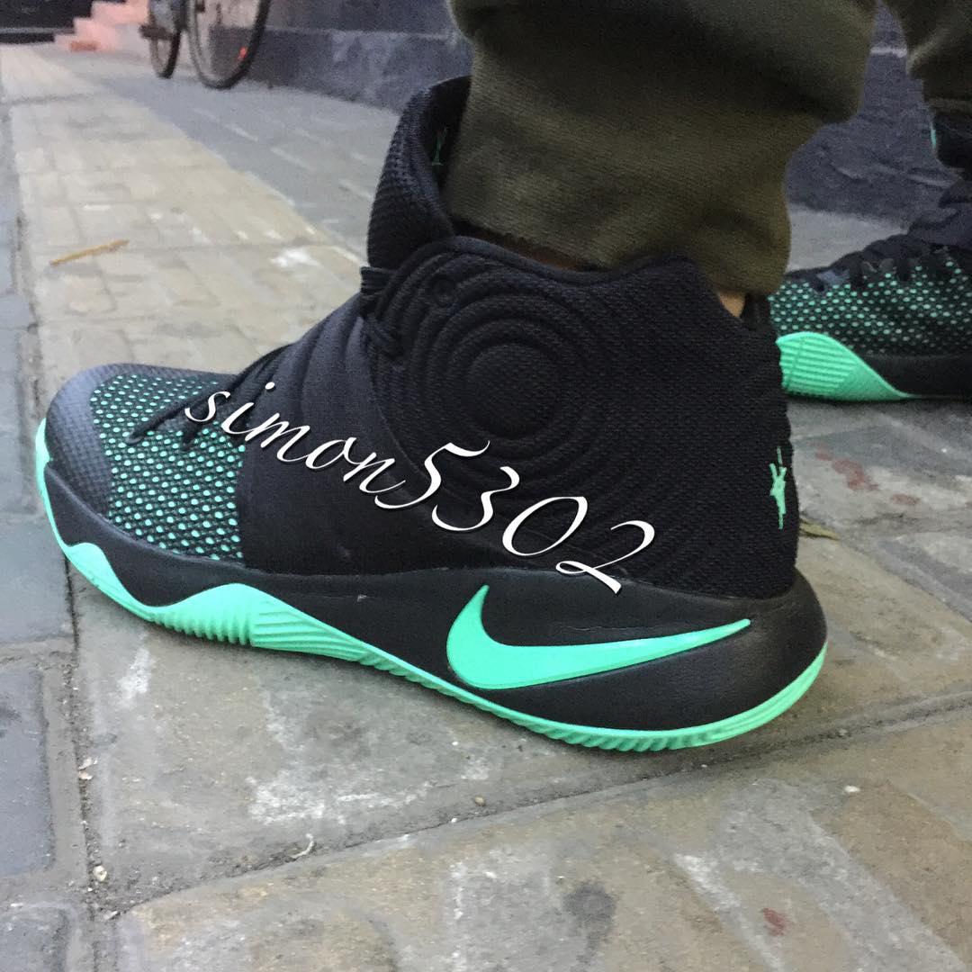 half off 90a65 b1ce4 nike kyrie 2 oke black green glow basketball shoes