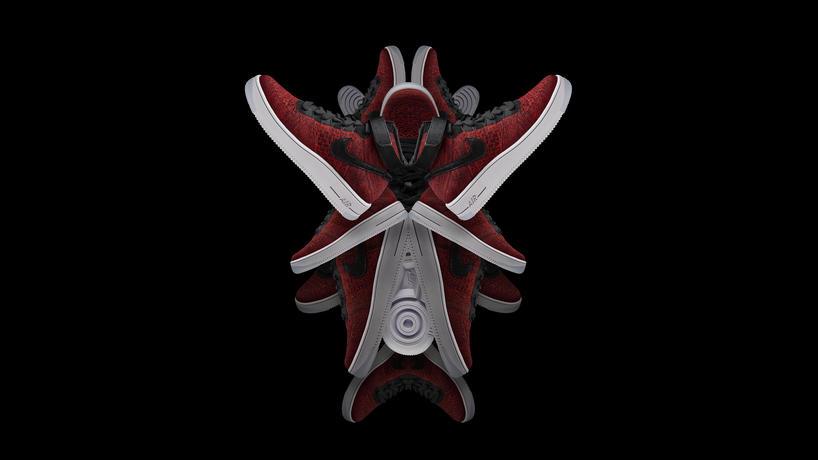 Nike Air Force 1 Midten Bringer I Rødt Flyknit Roshe gYTfnm