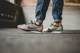 The Nike Flyknit Racer 'Rainbow' Multicolor is Available Now