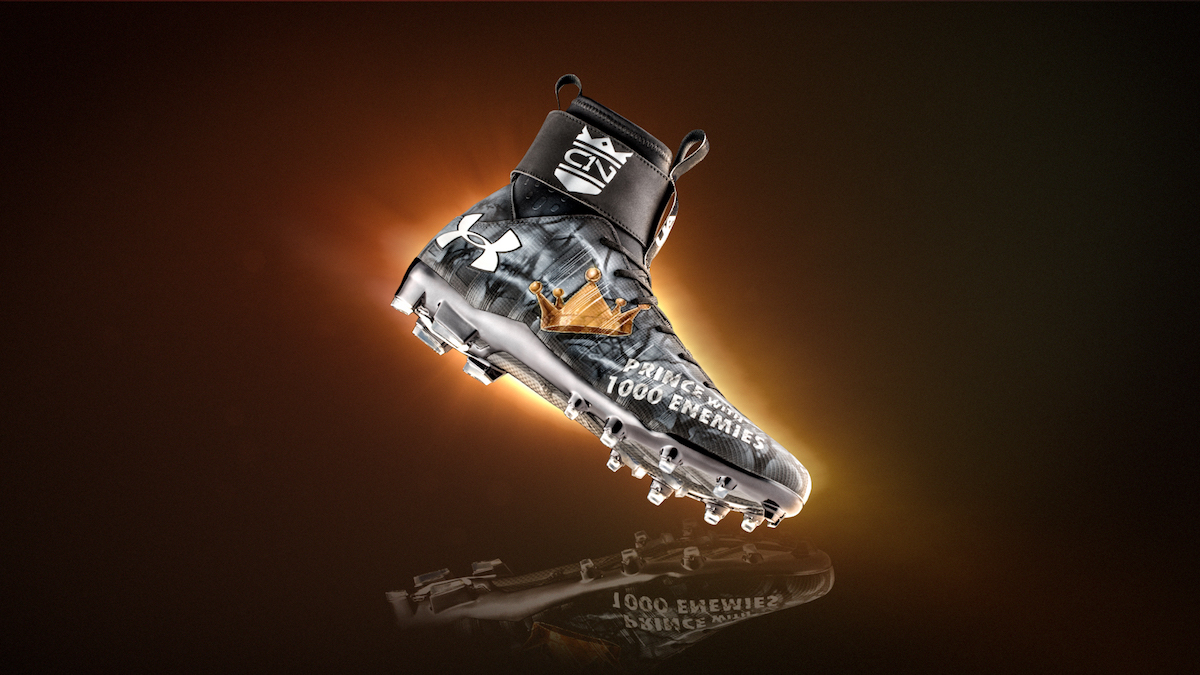 The Custom UA C1N MC Cleat Cam Newton Warmed Up in Last ...
