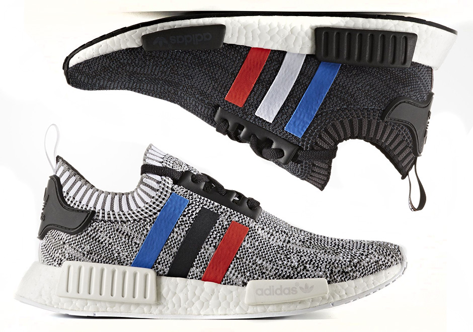 official photos 8beee 12366 Where to Cop the adidas NMD R1 Primeknit Tri-Color in 'Core ...
