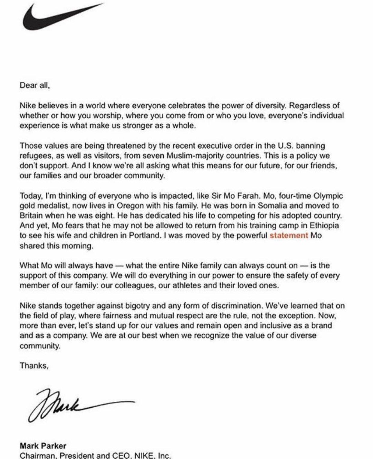 mark parker statement