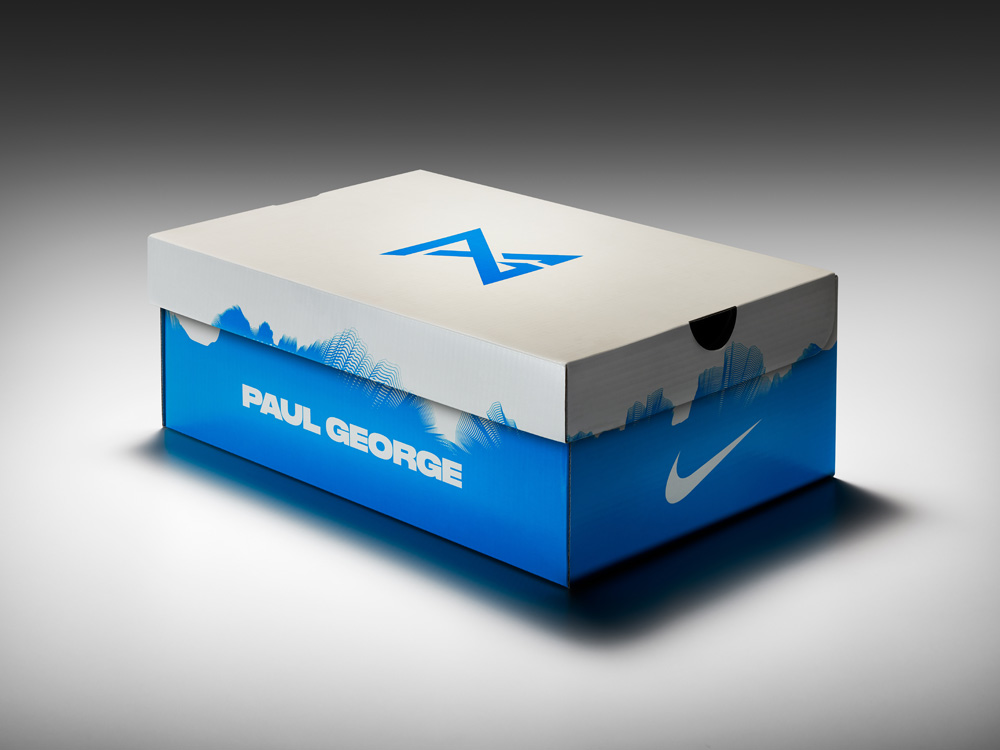 """The PG1 box is adorned with clouds. Why? George's early ask to Hardman was  to design """"clouds on his feet."""""""
