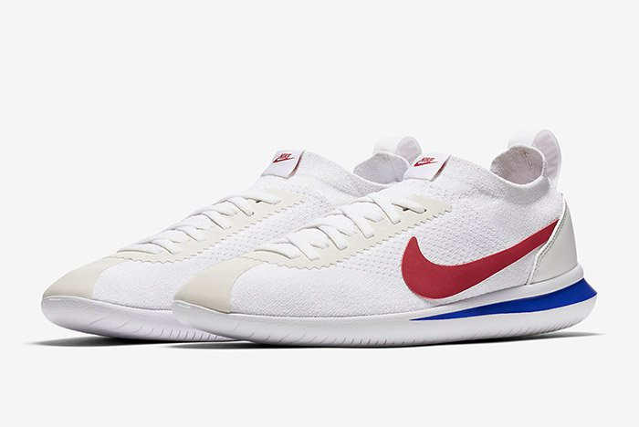 nike cortez white blue red flyknit 5