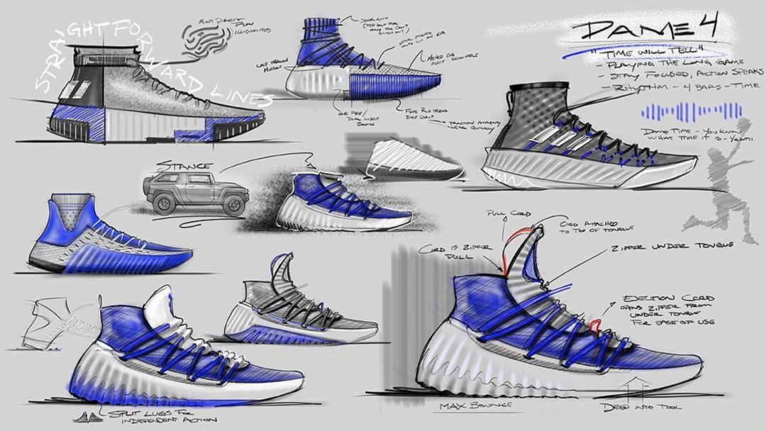 Dame 4 designer shares sketches and possible upcoming colorway adidas dame 4 design sketches jesse rademacher 2 sciox Image collections