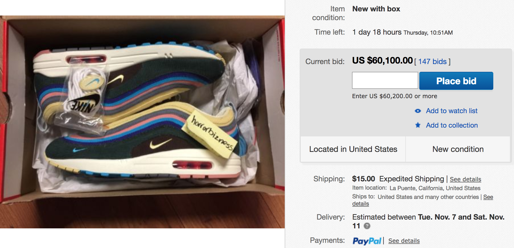 Sean Wotherspoon's Nike Air Max 197 is Selling on eBay for