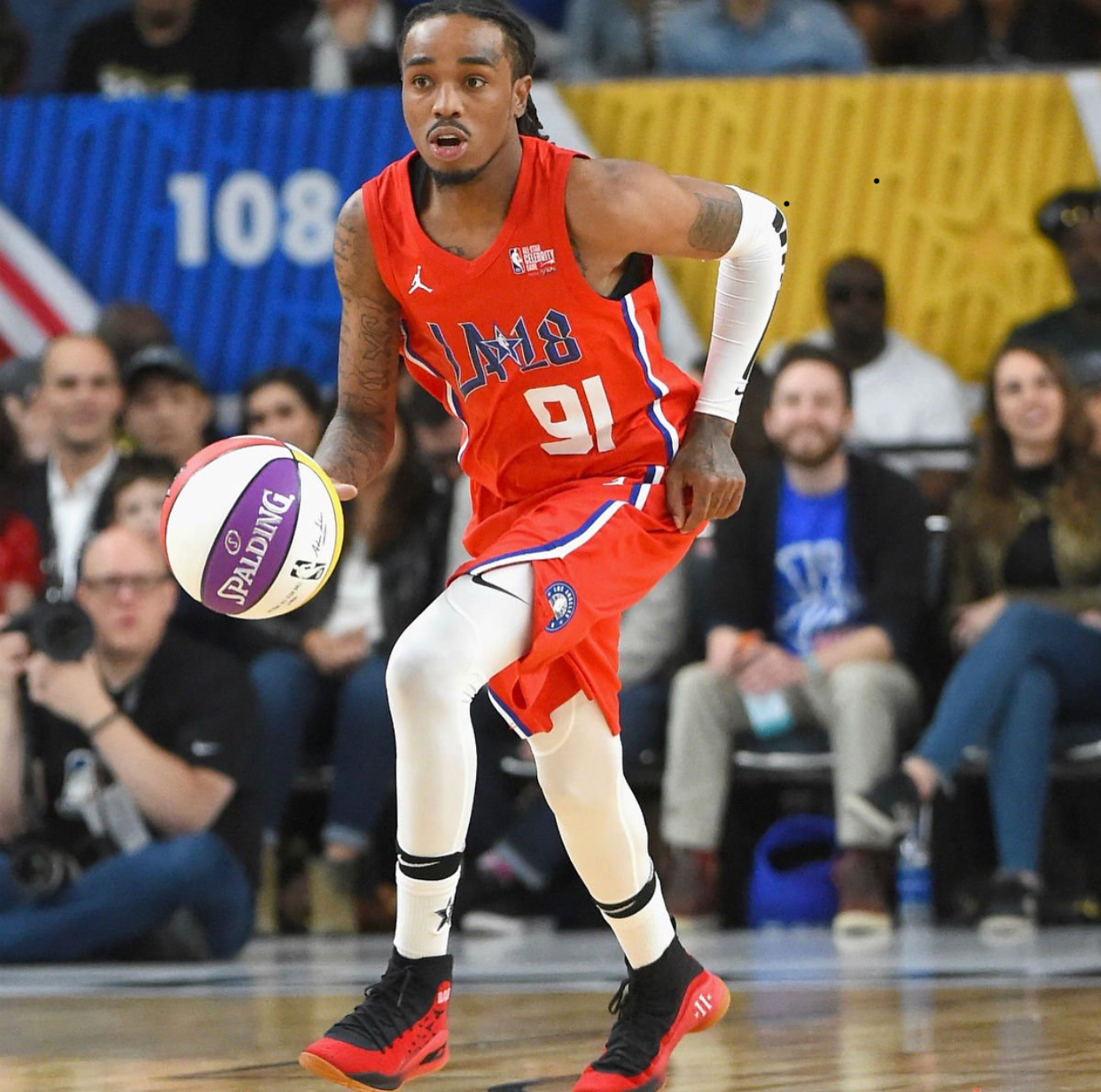Quavo Earns Celebrity Game MVP in Custom Mache Currys and
