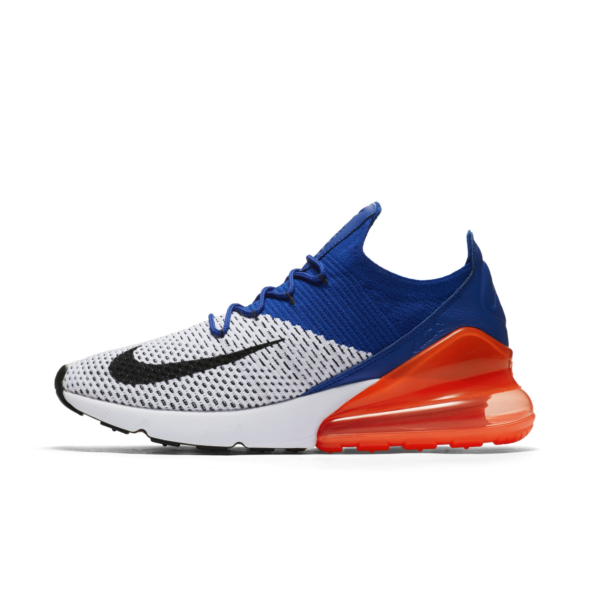 nike air max 270 flyknit racer blue total crimson mens 1