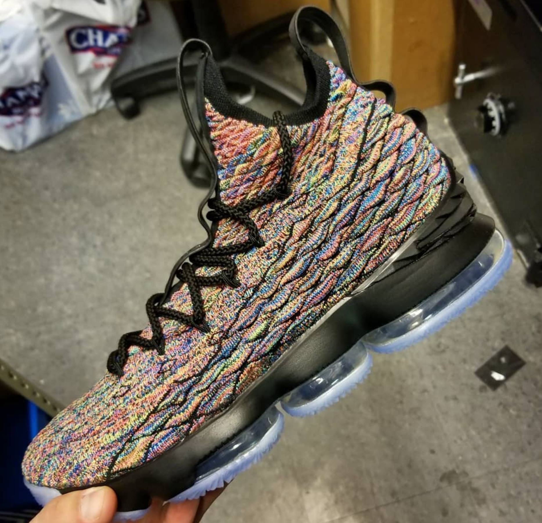 wholesale dealer f7479 ee805 First Look at the Black Nike LeBron 15 'Multicolor' Arriving ...