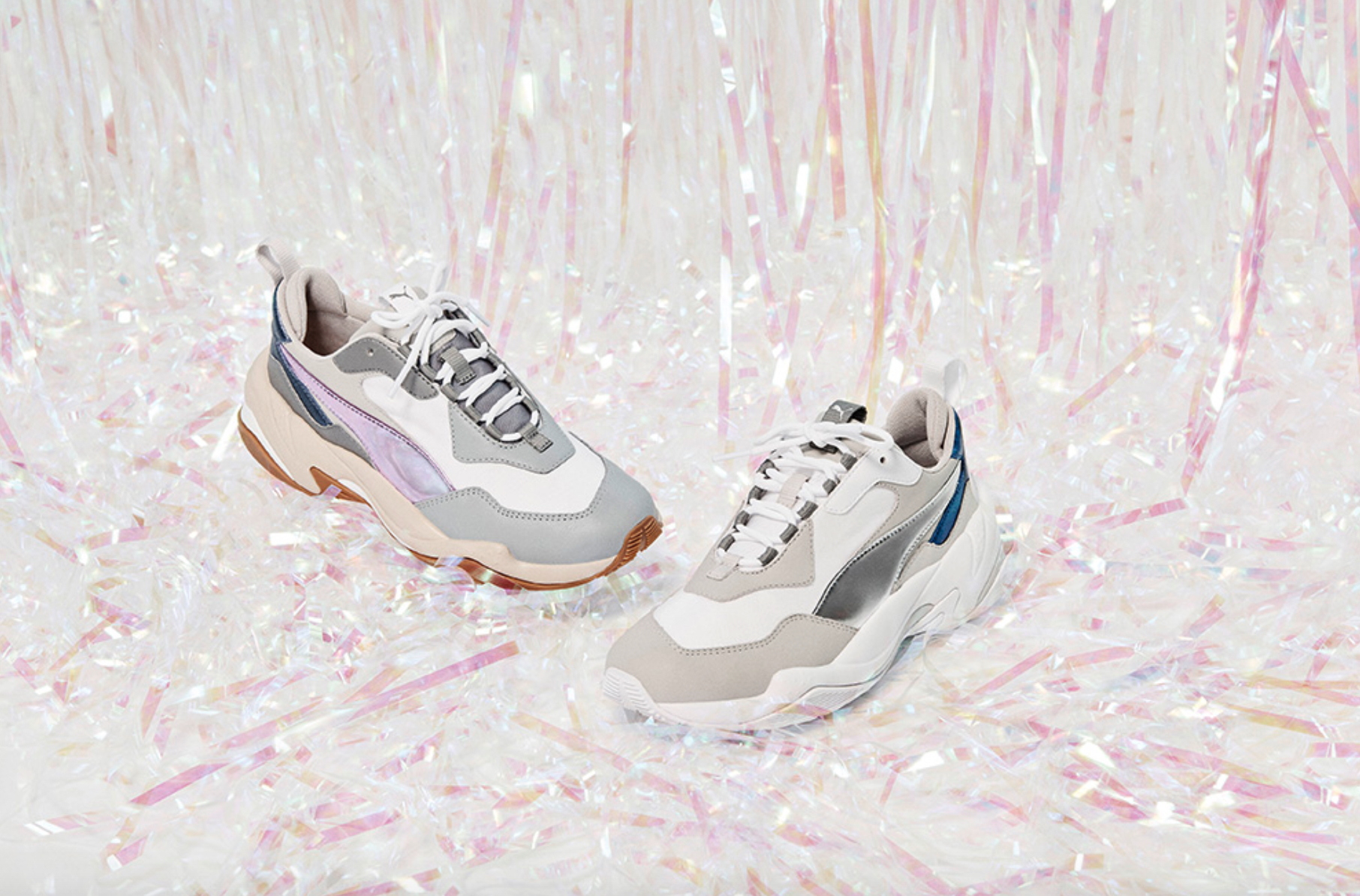 Puma Womens Thunder Electric Drop Sneakers in White & Pink