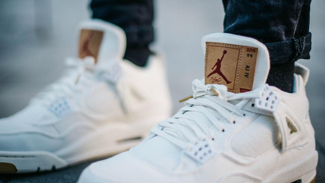 info for 6501a cb783 On-Foot Look at the Levi's Air Jordan 4 'White' - WearTesters
