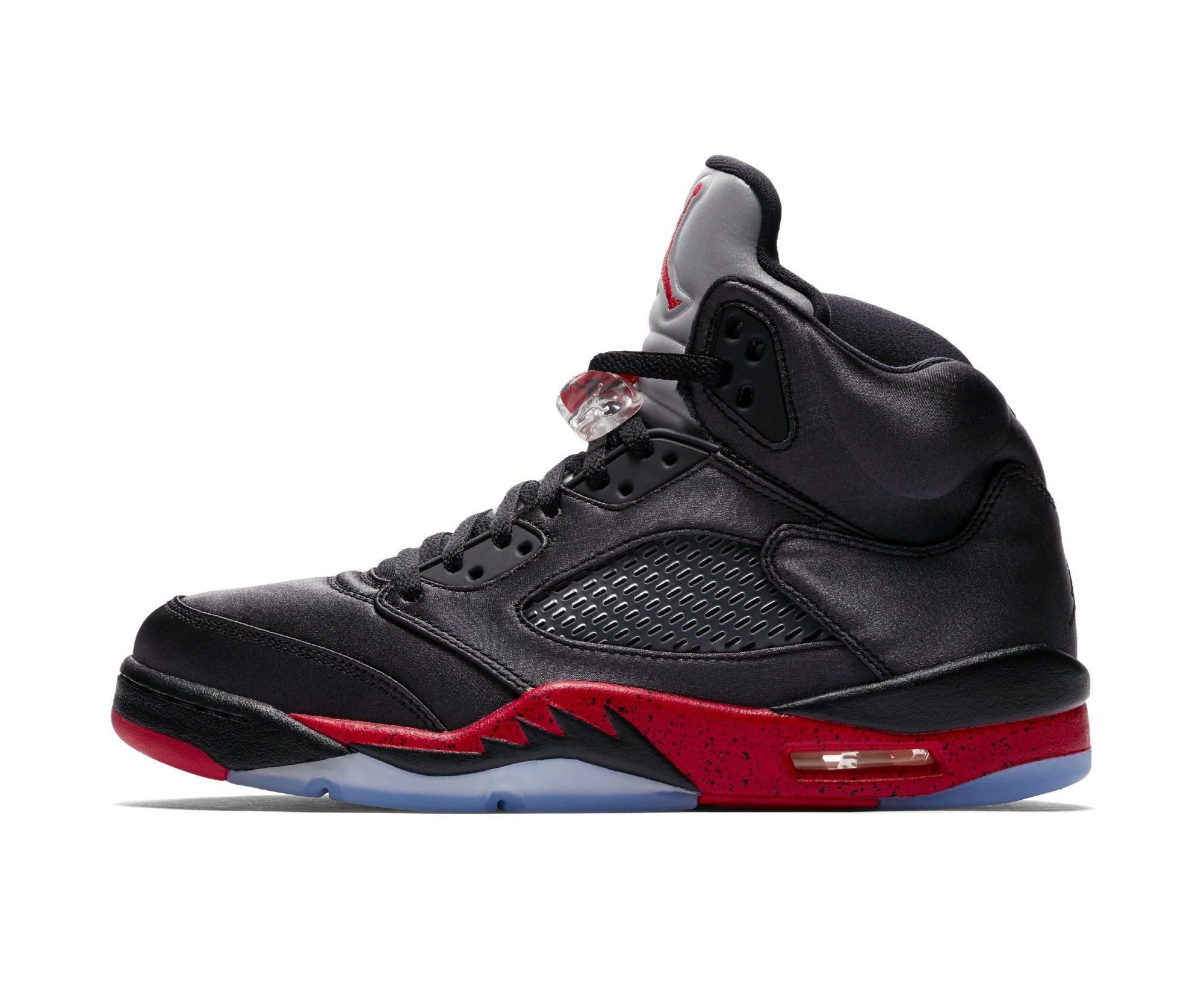meet 13bee 493df Official Look at the Satin Air Jordan 5 'Black/Red ...