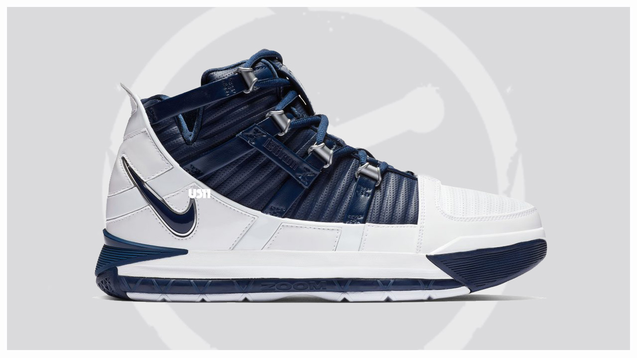 The Nike Lebron 3 QS White/Navy Could